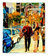 Thursdays Pub On Crescent Street Montreal City Scene Fleece Blanket