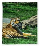 Tiger - Endangered - Lying Down - Tongue Out Fleece Blanket