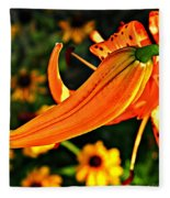 Tiger Lily Bud And Bloom Fleece Blanket