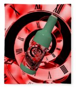 Time In A Bottle Red Fleece Blanket