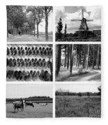 Timeless Brabant Collage - Black And White Fleece Blanket