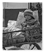 Tiny Biker 2 Monochrome Fleece Blanket