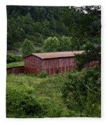 Tobacco Barn From Afar Fleece Blanket