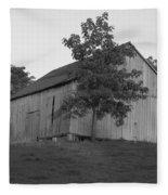 Tobacco Barn II In Black And White Fleece Blanket