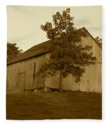 Tobacco Barn II In Sepia Fleece Blanket