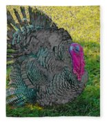 Tom Turkey Pencil Drawing Fleece Blanket