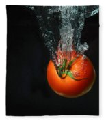 Tomato Falling Into Water Fleece Blanket