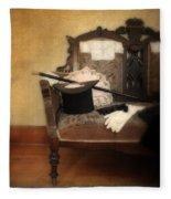 Top Hat And Cane On Sofa Fleece Blanket