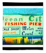 Topsail Island Old Sign Fleece Blanket