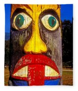 Totem Pole With Tongue Sticking Out Fleece Blanket