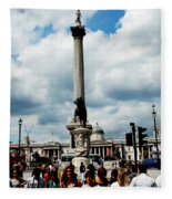 Tourists At Trafalgar Square Fleece Blanket
