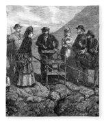 Tourists At Vesuvius, 1872 Fleece Blanket