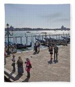 Tourists In Venice Fleece Blanket