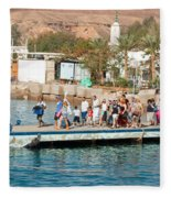 Tourists Waiting To Climb Onto Dive And Snorkeling Boats At Sharm El Sheikh Fleece Blanket