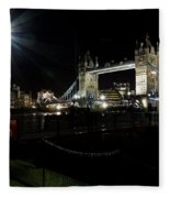 Tower Bridge And Riverside Night View  Fleece Blanket