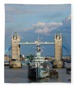 Tower Bridge With Hms Belfast Fleece Blanket