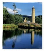 Tower Near A Lake, Round Tower, Ulster Fleece Blanket