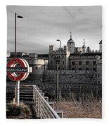 Tower Of London With Tube Sign Fleece Blanket