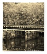 Track On The River In Sepia Fleece Blanket