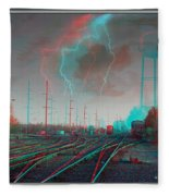 Tracking The Storm - Red-cyan Filtered 3d Glasses Required Fleece Blanket