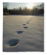 Tracks Into The Sunrise Fleece Blanket