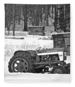 Tractor At The Mill  Fleece Blanket