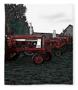 Tractor Row Fleece Blanket