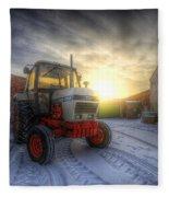 Tractor Sunrise Fleece Blanket