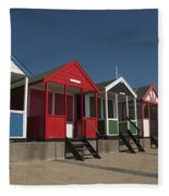 Traditional Beach Huts On The Seafront Fleece Blanket