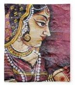 Traditional Painting On A Wall Jodhpur Fleece Blanket