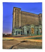 Michigan Central Train Depot Station Detroit Mi Fleece Blanket