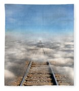 Train Tracks Into The Clouds Fleece Blanket