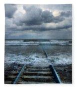 Train Tracks Into The Sea Fleece Blanket