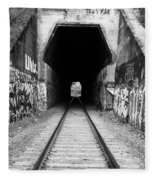Train Tunnel At The Muir Trestle In Martinez California . 7d10235 . Black And White Fleece Blanket