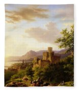 Travellers On A Path In An Extensive Rhineland Landscape Fleece Blanket