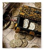 Treasure Box With Old Pistol Fleece Blanket