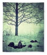 Tree And Fence In The Fog And Snow Fleece Blanket