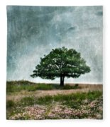 Tree And Wildflowers  Fleece Blanket