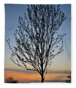 Tree At Sunset Fleece Blanket