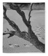 Tree Branch And Footprints On Sleeping Bear Dunes Fleece Blanket