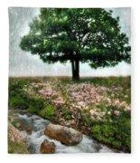 Tree By Stream Fleece Blanket