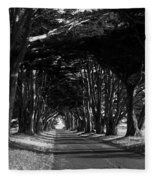 Tree Canopy Promenade Road Drive . 7d9977 . Black And White Fleece Blanket