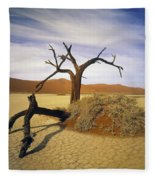 Tree In Desert Fleece Blanket
