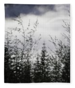 Trees And Clouds Fleece Blanket