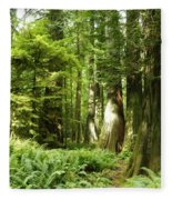 Trees At Cathedral Grove Fleece Blanket