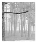 Trees On A Foggy  Morning Fleece Blanket