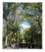 Trees On The Mall In Central Park Fleece Blanket