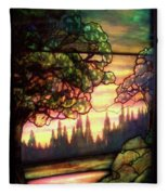 Trees Stained Glass Window Fleece Blanket