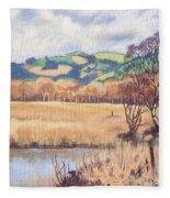 Cors Caron Nature Reserve Tregaron Painting Fleece Blanket