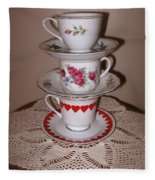 Trio Of Valentine Tea Cups  Fleece Blanket